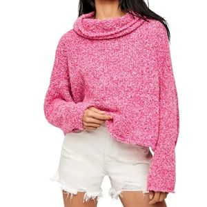 Free People BFF Cowl neck sweater Prickly pear S